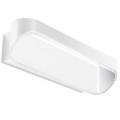 Elliptical Matt White LED Wall Light